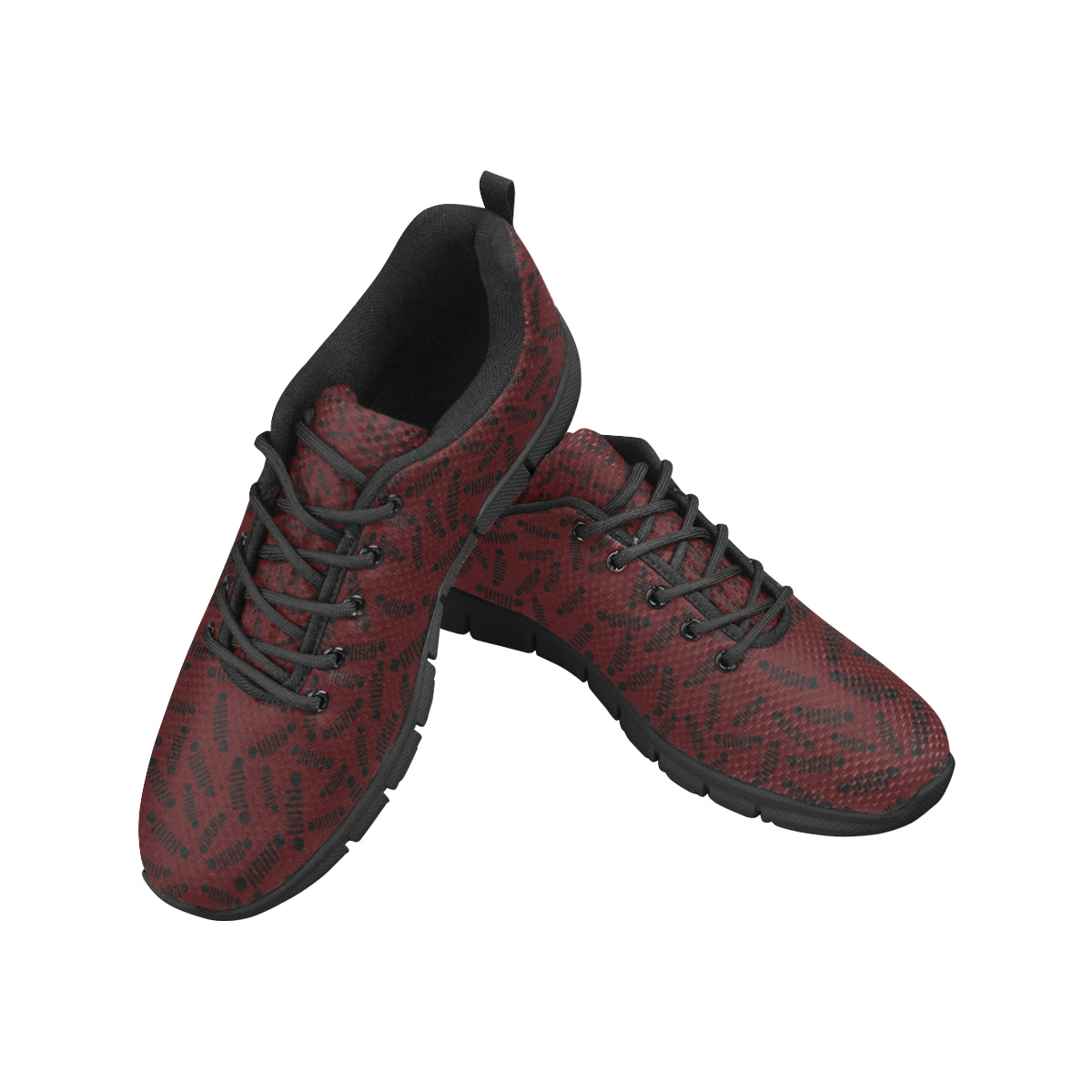Marroon black jeep logo Women's Breathable Running Shoes (Model 055).