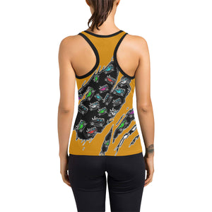 Orange jeep torn logo Women's Racerback Tank Top (Model T60).