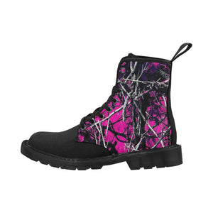 Pink muddy girl essentials jeep boots Martin Boots for Women (Black) (Model 1203H)