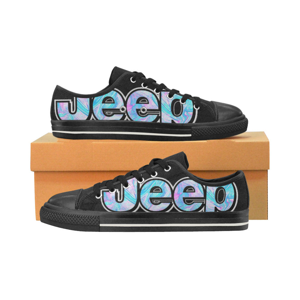 Custom Jeep shoes blue swirl pattern Low Top Canvas Shoes (for Women).