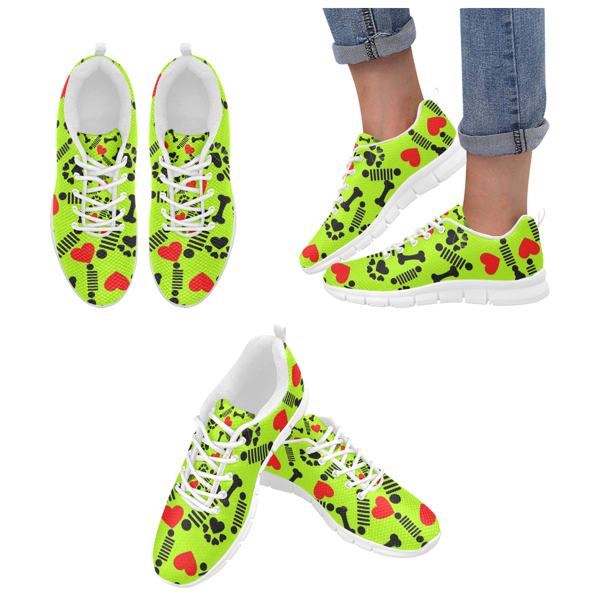 Custom jeep green pet paw bone shoes Women's Breathable Running Shoes (Model 055).