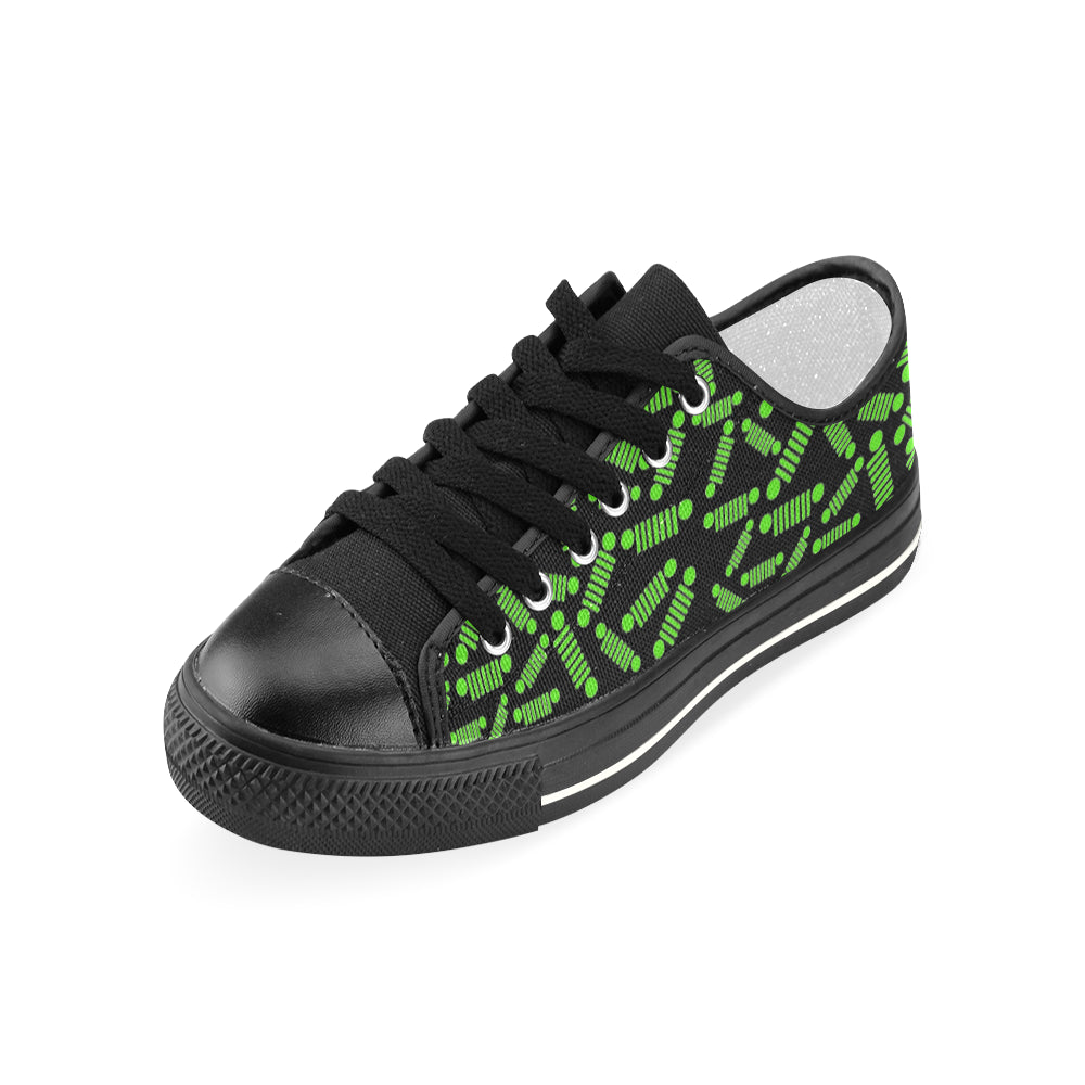 Custom jeep shoes Green and black jeep shoes Women's Classic Canvas Shoes (Model 018)