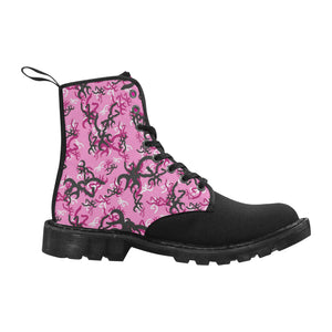 Pink dear essential jeep boots Martin Boots for Women (Black) (Model 1203H)