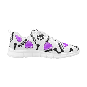 White and Purple jeep pet paw Women's Breathable Running Shoes (Model 055)