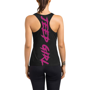 Grey and pink jeep dust Women's Racerback Tank Top (Model T60).