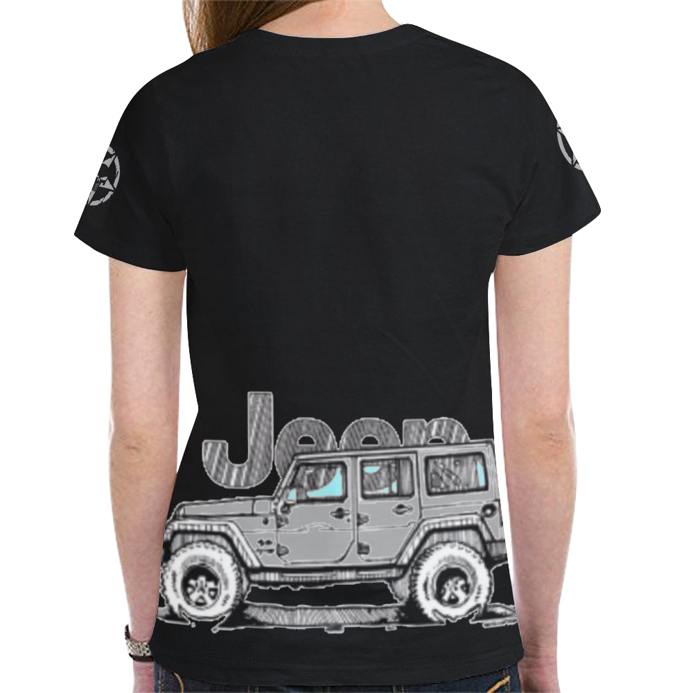 Silver jeep summer shirt New All Over Print T-shirt for Women (Model T45)