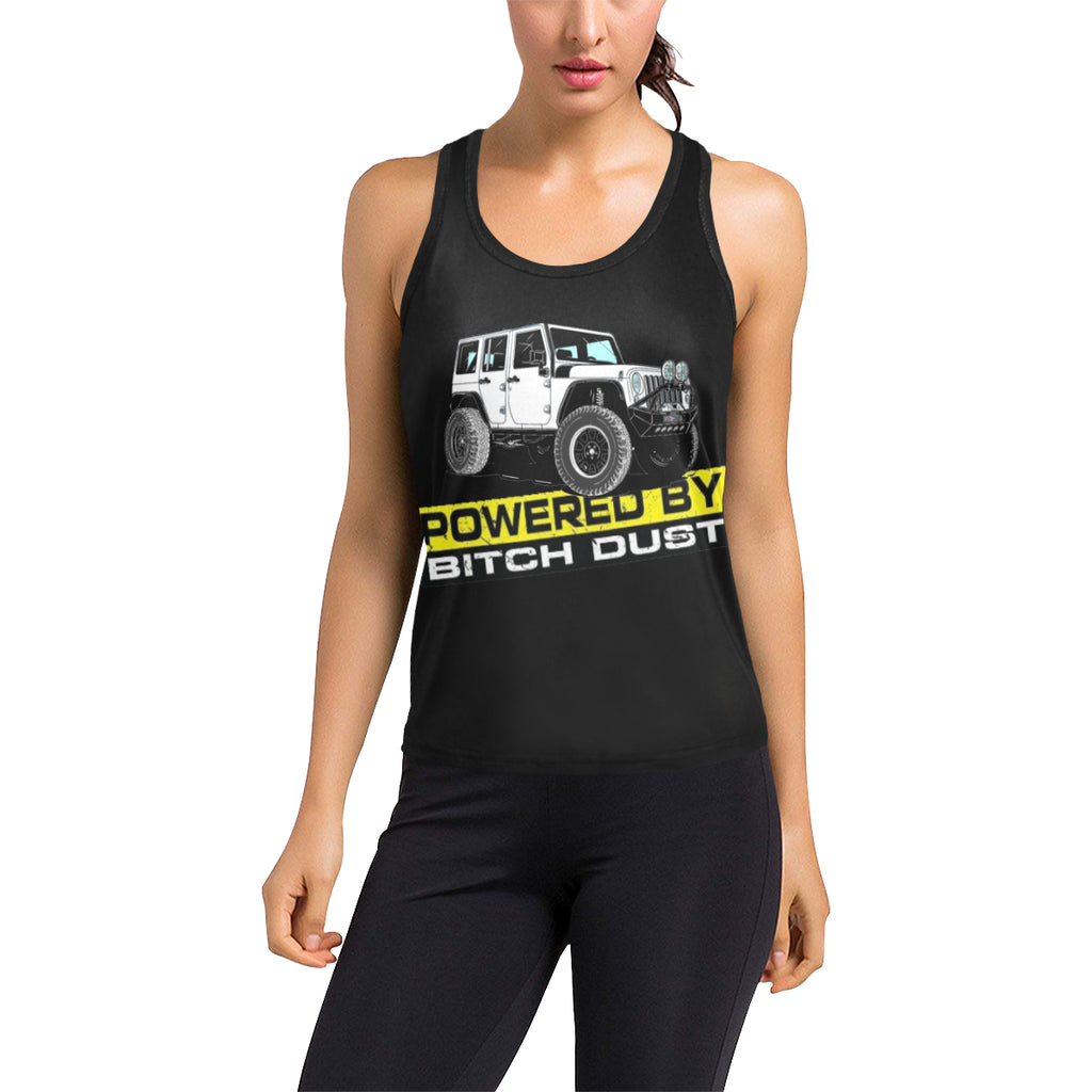 White jeep 4door dust order a size up Women's Racerback Tank Top (Model T60).