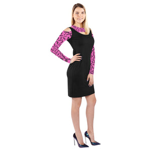 Black and pink jeep dress Cold Shoulder Long Sleeve Dress (Model D37)