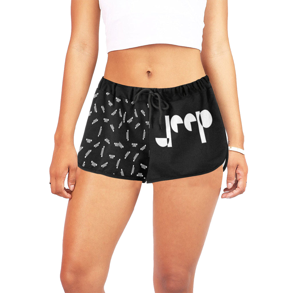 White jeep logo Women's All Over Print Relaxed Shorts  (Model L19)