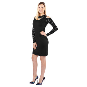 Black jeep dress Cold Shoulder Long Sleeve Dress (Model D37)