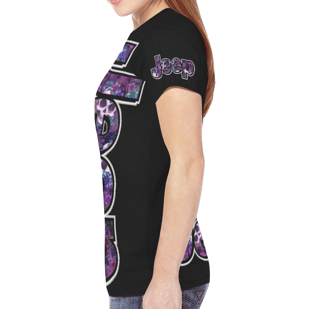Purple jeep skull summer New All Over Print T-shirt for Women (Model T45).