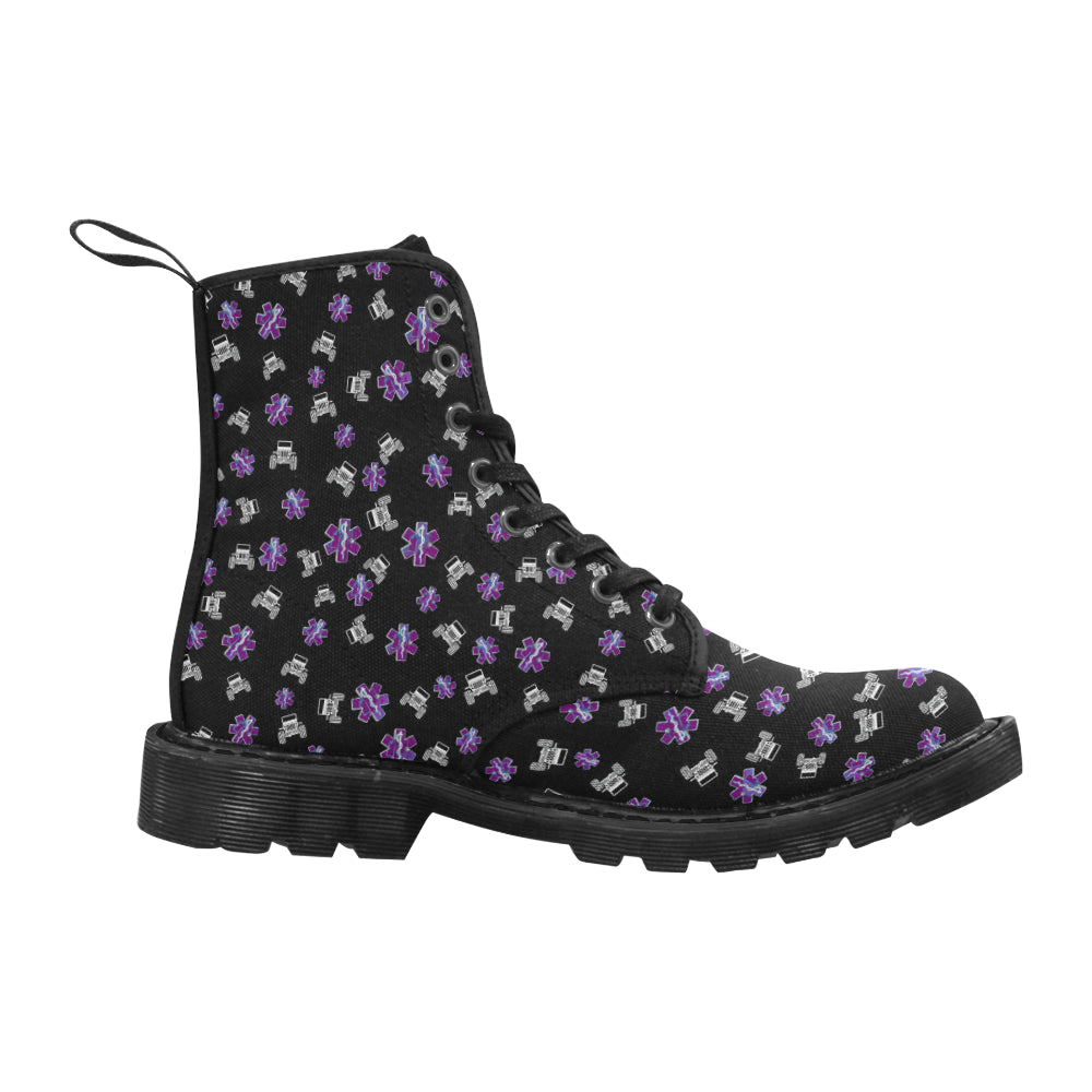 Purple nurse boots Martin Boots for Women (Black) (Model 1203H).