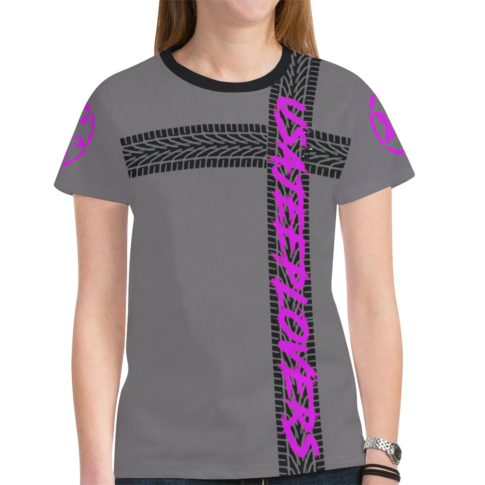 PURPLE JEEP SHIRT GO UP A SIZE FOR BEST FIT New All Over Print T-shirt for Women (Model T45).