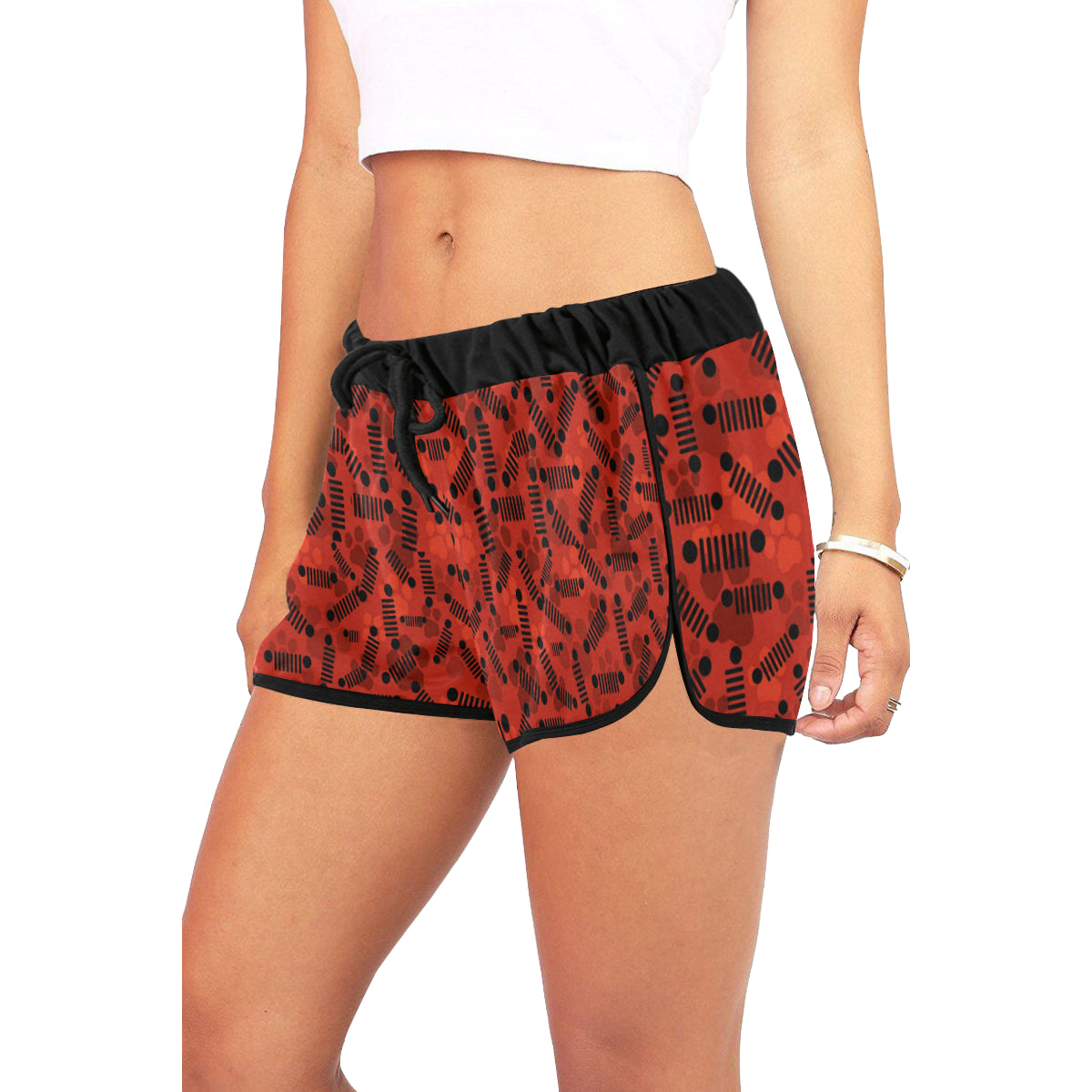 Hello kitty red jeep Women's All Over Print Relaxed Shorts (Model L19)