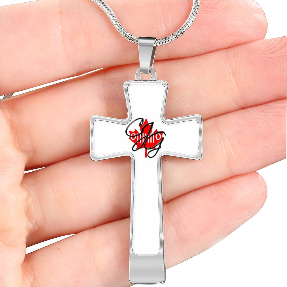 CJG logo cross engravble necklace