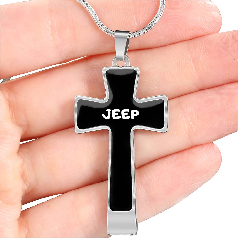 Jeep decal cross necklace
