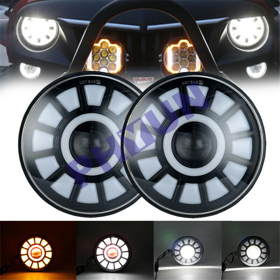 Pair 7'' Round LED 2Color Headlight Turn Halo DRL Hi Lo Beam for Jeep Wrangler