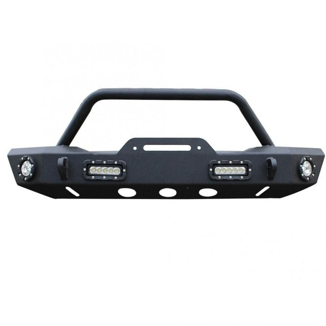 BLACK FRONT BUMPER WINCH PLATE W/ 4 LED LIGHTS For 2007-2019 JEEP WRANGLER JK Front Bumper