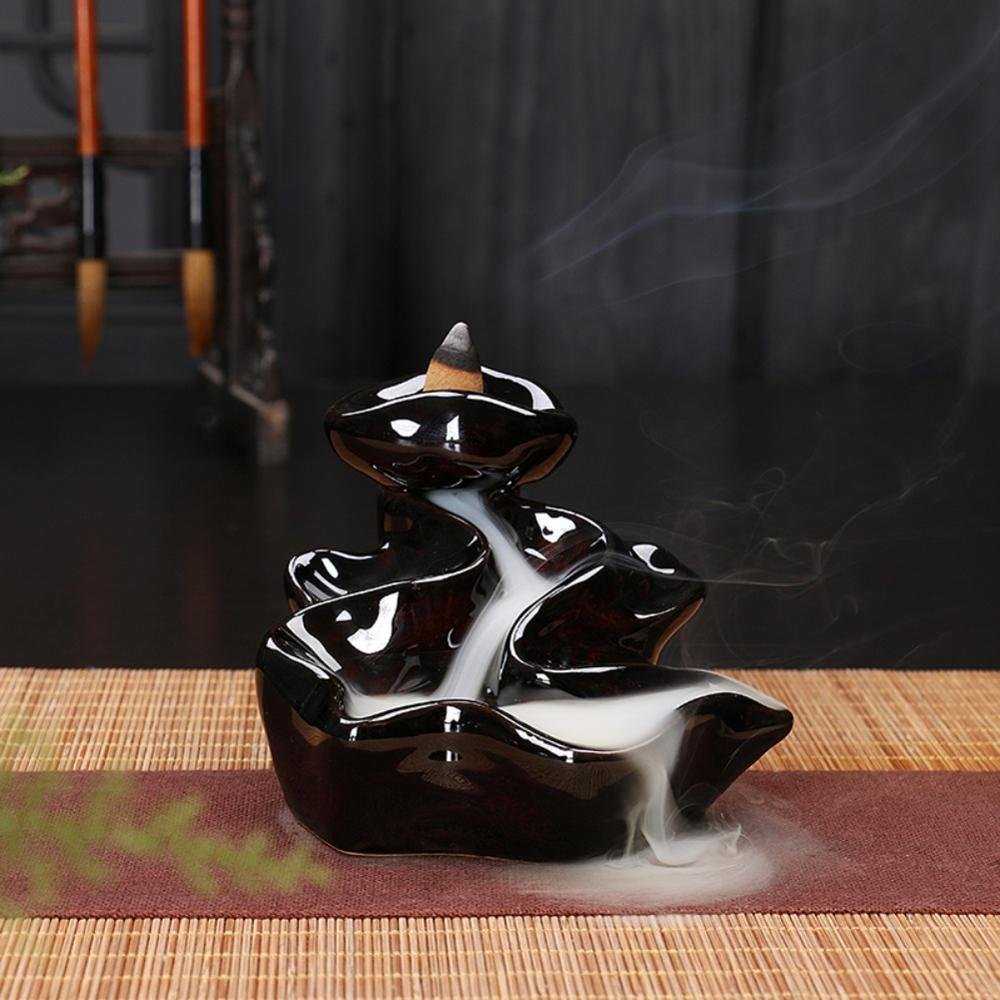 Ceramic Backflow Incense Burner Mountain Waterfall Smoke Incense Holder Home Decor Aromatherapy Ornament