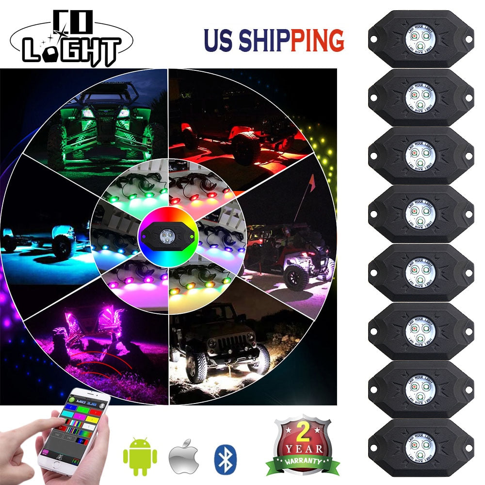 CO LIGHT 8PCS 3'' 9W Multi-Color RGB LED Rock Light Kit with Bluetooth Controller Timing Function Music Mode.