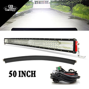 CO LIGHT 50'' Curved Led Light Bar Combo 50 Inch Led Driving Beam 8D Lens for jeep 4x4 Off Road