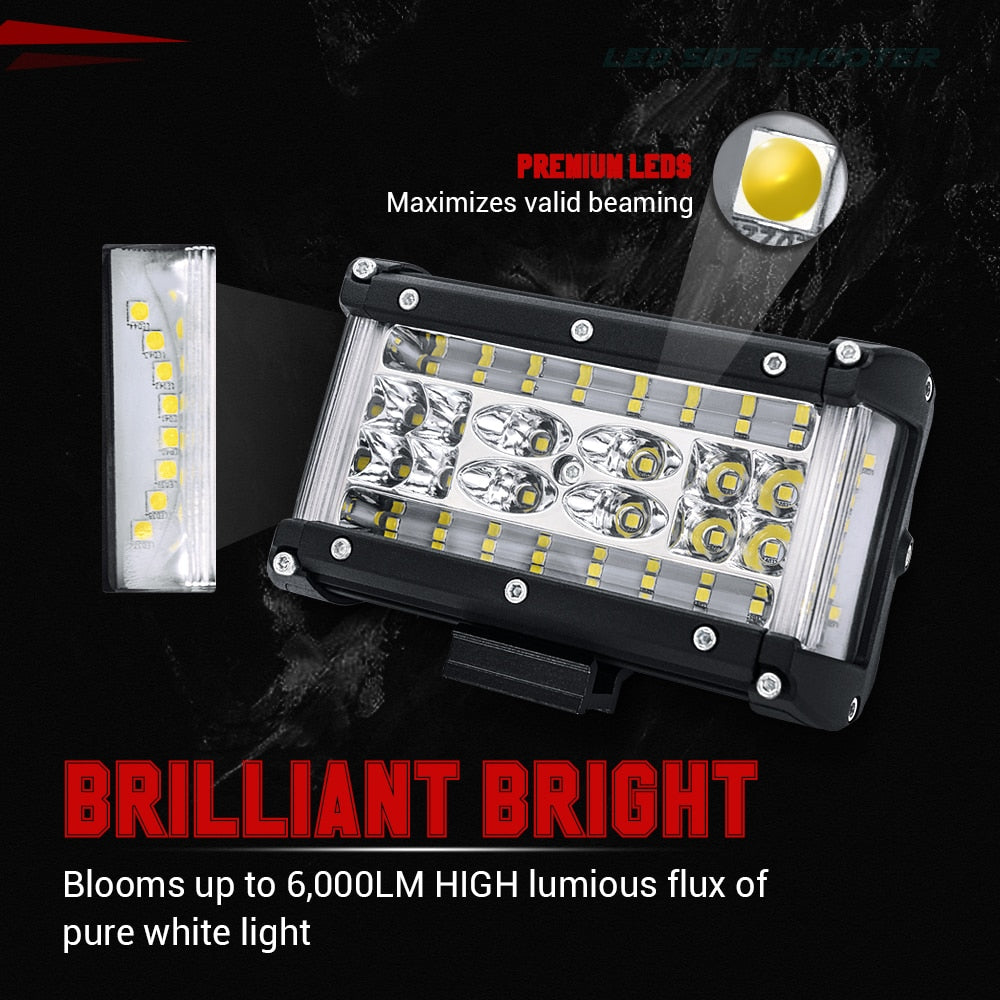 2PCS 5 inch 72W LED Work Light Bar Spot Flood Combo Work Light Pods Offroad Driving Fog Lamp for 4X4 Truck ATV SUV Jeep Boat