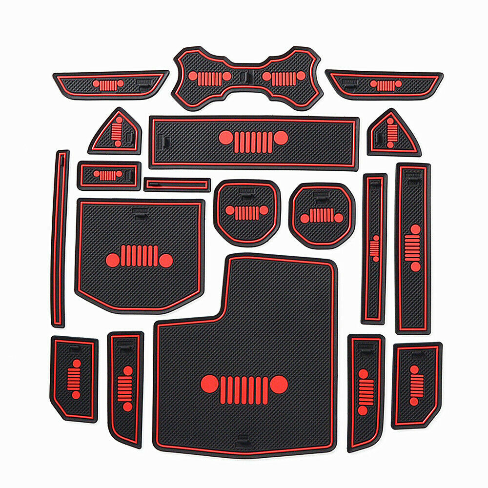 Fits Jeep Wrangler JL 2018 Accessories Door Mats Gate Slot Mat Cup Pads Red.