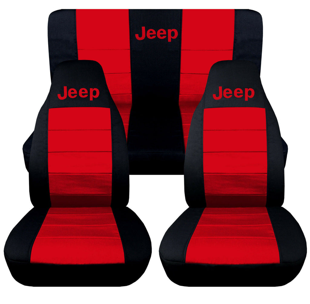 2007-2017 Jeep Wrangler Two Tone Seat Covers Canvas Front & Rear Choose color