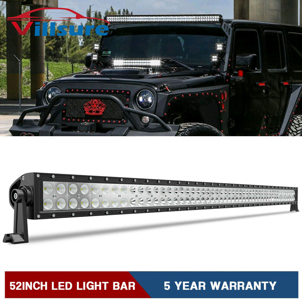 52INCH 300W LED Light Bar Combo Offroad Driving For Jeep Wrangler JK YJ CJ LJ TJ