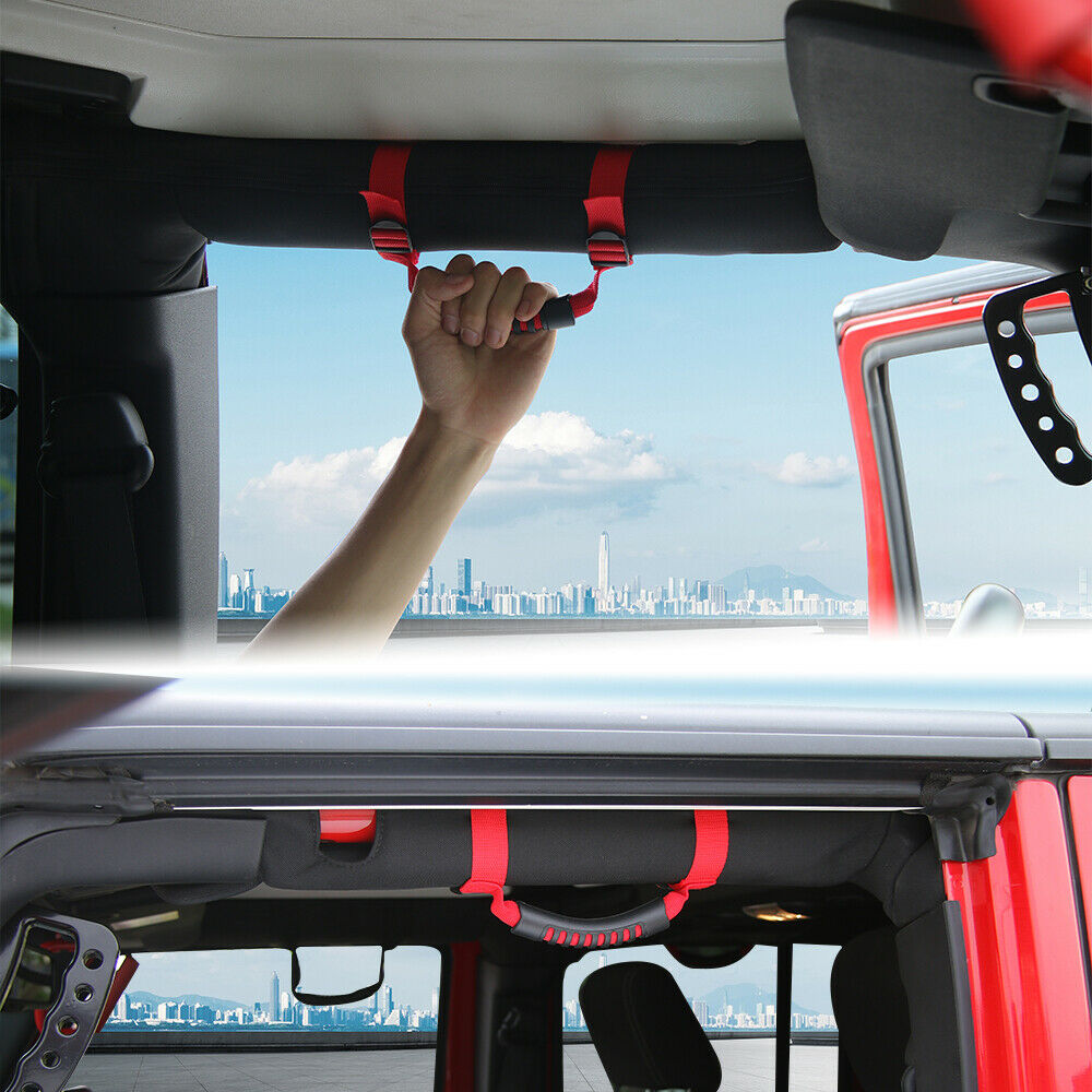 4x Top Roll Bar Grab Handles Grip Wide For Jeep Wrangler CJ YJ TJ JK JK JL Red.