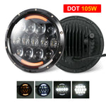 7 Inch Round LED Headlight Halo Angle Eyes For Jeep Wrangler JK LJ TJ 1997-2017