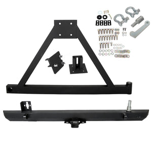 New Rear Bumper W/ Tire Carrier For 87-96 YJ / 97-06 TJ Jeep Wrangler