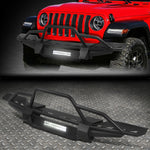 FOR 18-19 JEEP WRANGLER JL STEEL FRONT BUMPER BRUSH GUARD W/LED FOG LIGHT BAR