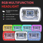 86-95 JEEP WRANGLER YJ 7X6 RGB MULTI COLOR LED SMD Halo Headlights SET PAIR