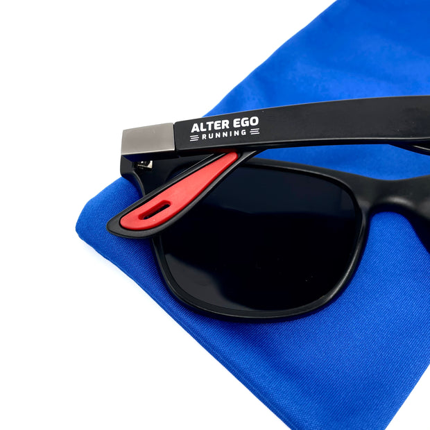 RUN Sunnies (Polarized) by Alter Ego Running - Matte Black Frame | Black Polarized Lens