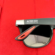 RUN Sunnies (Polarized) by Alter Ego Running - Matte Black Frame | Rose Pink Polarized Lens