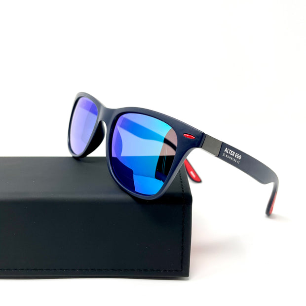RUN Sunnies (Polarized) by Alter Ego Running - Matte Blue Frame | Green Polarized Lens