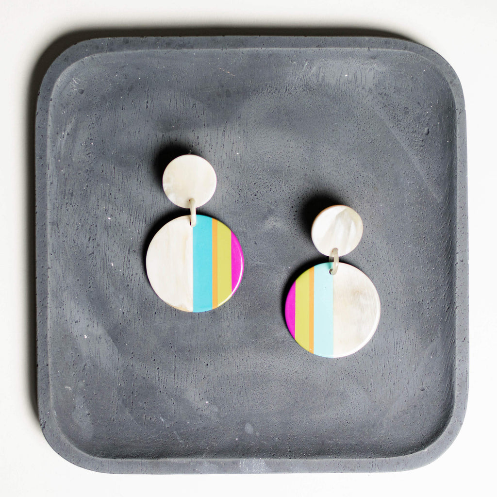 Small Seaside Circle Stripe Earrings