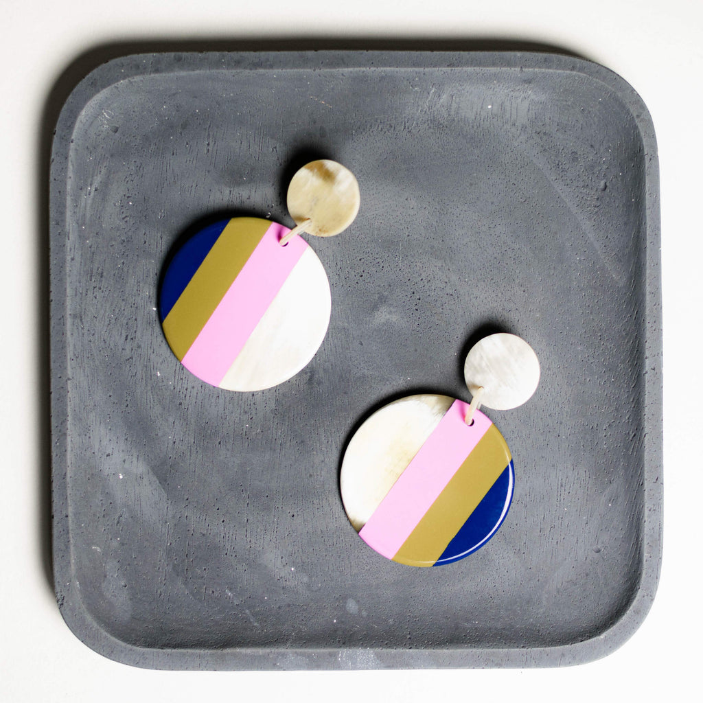 Circle Olive Stripe Earrings