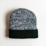 Mixed Acrylic Beanie - Black/Grey