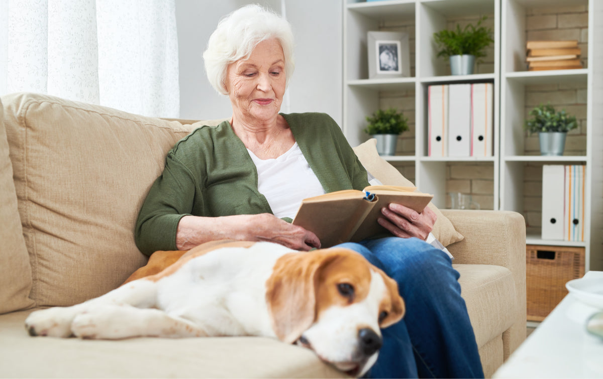 elderly woman enjoying the company of her emotional support dog