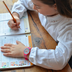 Kids Time Teaching Girl's Watch (Magical Unicorn and Emojis).  Easy to read and teach time telling. Cute design perfect for gift and birthdays.  Tell Time Fun.  Learn to Tell Time.