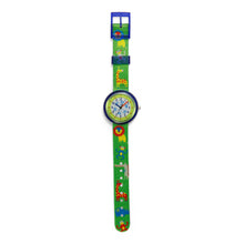Load image into Gallery viewer, Kids Time Teaching Boy's Watch (Zoo Animals Lion).  Easy to read and teach time telling. Cute design perfect for gift and birthdays.  Tell Time Fun.  Learn to Tell Time.
