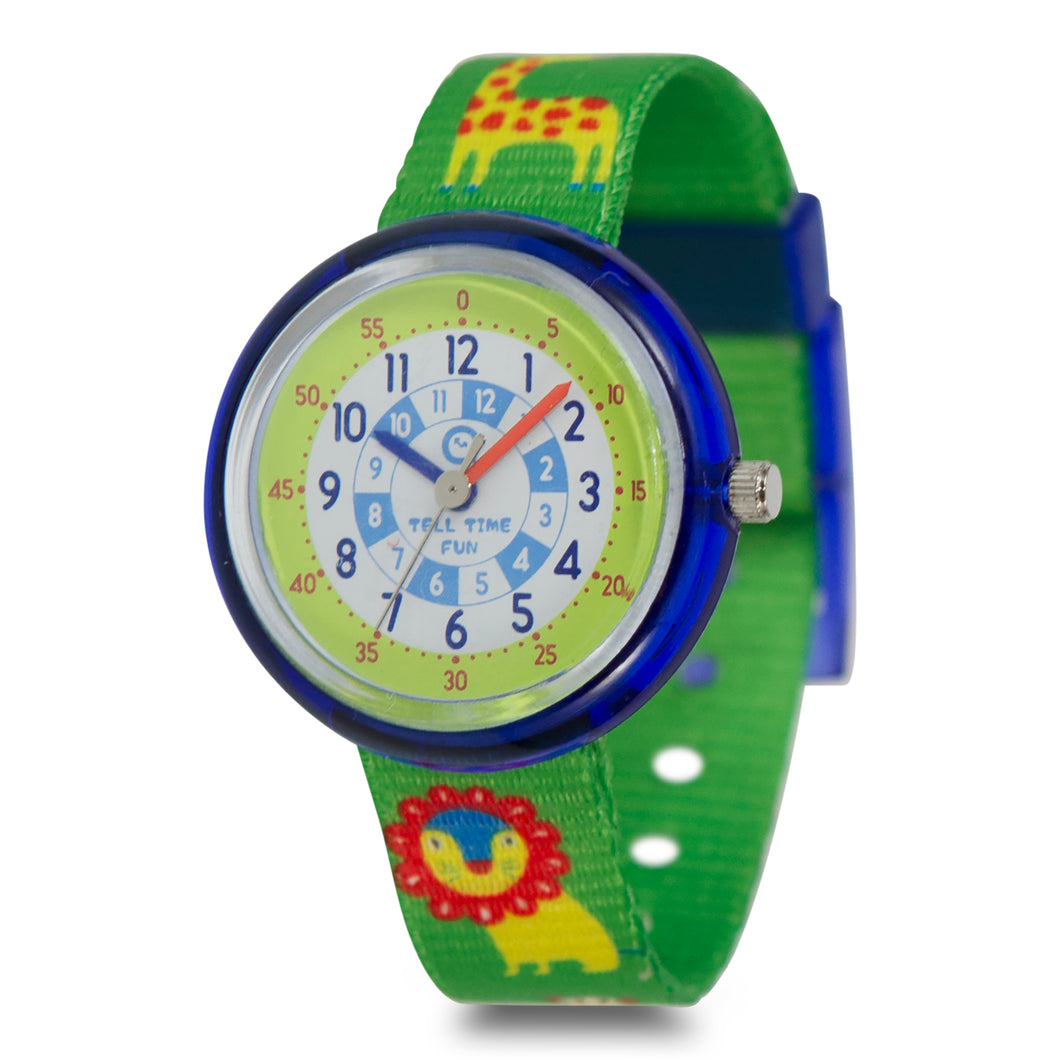 Kids Time Teaching Boy's Watch (Zoo Animals Lion).  Easy to read and teach time telling. Cute design perfect for gift and birthdays.  Tell Time Fun.  Learn to Tell Time.