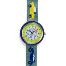 Load image into Gallery viewer, Kids Time Teaching Boys Watch (Cool Cars).  Easy to read and teach time telling. Cute design perfect for gift and birthdays.  Tell Time Fun.  Learn to Tell Time.