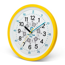 Load image into Gallery viewer, TellTimeFun Large Kids Silent Analog Teaching Wall Clock. Kids Bedroom, Playroom, Study Room, Living Room, Classroom. Educational Material for Parents and Teachers. (Sunrise Yellow)