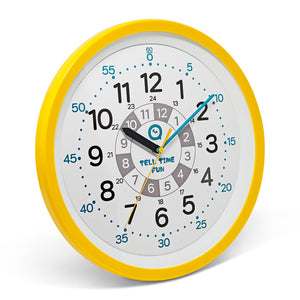 TellTimeFun Large Kids Silent Analog Teaching Wall Clock. Kids Bedroom, Playroom, Study Room, Living Room, Classroom. Educational Material for Parents and Teachers. (Sunrise Yellow)