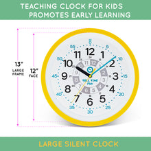 Load image into Gallery viewer, Tell Time Fun Large Kids Silent Analog Teaching Wall Clock. Kids Bedroom, Playroom, Study Room, Living Room, Classroom. Educational Material for Parents and Teachers. (Sunrise Yellow)