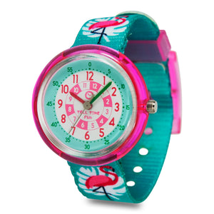 Kids Time Teaching Girl's Watch (Fancy Flamingo).  Easy to read and teach time telling. Cute design perfect for gift and birthdays.  Tell Time Fun.  Learn to Tell Time.