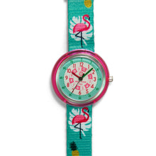 Load image into Gallery viewer, Kids Time Teaching Girl's Watch (Fancy Flamingo).  Easy to read and teach time telling. Cute design perfect for gift and birthdays.  Tell Time Fun.  Learn to Tell Time.